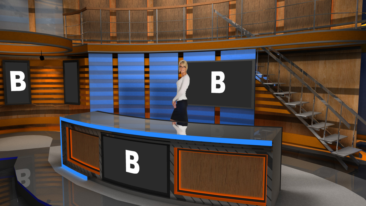 Virtual Set Studio 181 For Hd Is A News Desk With Stairs