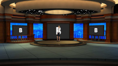 Virtual Set Studio 186 for 4K is a talk show virtual studio with ample space for a large number of chairs.
