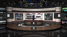 Virtual Set Studio 189 for 4K is perfect presentations and is configurable with screens, a desk, and a table.