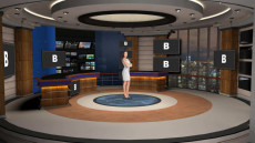 Virtual Set Studio 190 for Wirecast is a virtual news studio with a control room, optional desk, and configurable monitors.