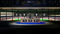 Virtual Set Studio 194 for 4K is a sports news desk with optional desk and replacable background to change sports.