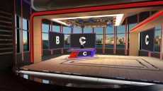 Virtual Set Studio 205 for vMix is a news room with optional screens and desk.