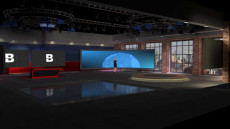 Virtual Set Studio 207 for Photoshop is a large news room with multiple locations and optional screens and desks.