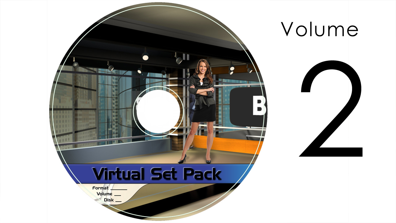 Virtual Set Pack Volume 2 After Effects:  Royalty Free, Includes 10 Virtual Sets with 16 Angles Each in After Effects Format: Studio118 Studio127 Studio137 Studio138 Studio114 Studio115 Studio120 Studio128 Studio129 Studio134